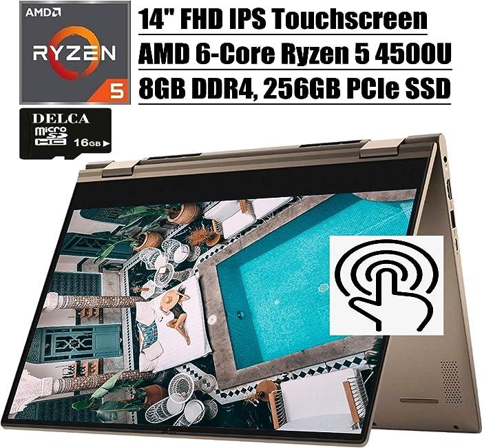 "Dell Inspiron 14 7000 2020 Premium 2 in 1 Laptop I 14""FHD IPS Touchscreen I AMD 6-Core Ryzen 5 4500U (>i7-8550U) I 8GB DDR4 256GB PCIe SSD I AlexaBacklit FP Win 10 + Delca 16GB Micro SD Card"