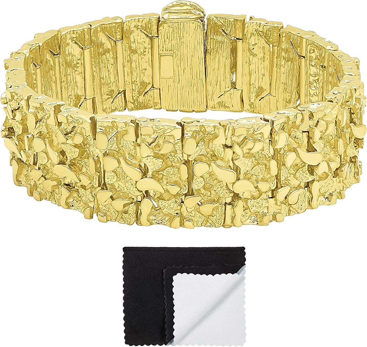 The Bling Factory Thick 22.5mm 14k Gold Plated Chunky Nugget Textured Bracelet + Microfiber