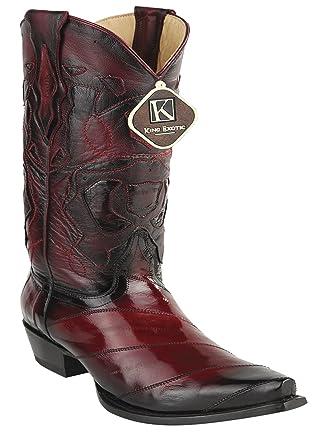 Women's Snip Toe Faded Gray Genuine Leather EEL Skin Western Boots
