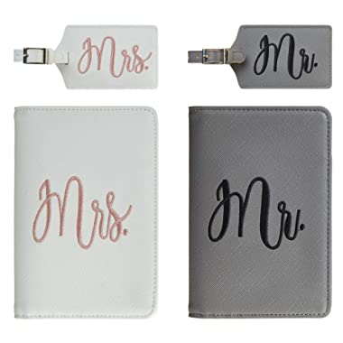 Chelmon Honeymoon Passport Wallets Travel Holder Set Mr. & Mrs. Slim Waterproof Passport Case Covers and Organizer Slots Grey and White (2 Covers with 2 Luggage Tags)