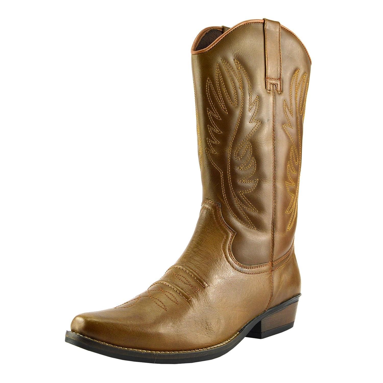 Herren Leder Cowboy Ziehen Auf der westlichen Langen kubanischen Ferse Smart Knöchel Stiefel EU40 47 Tan