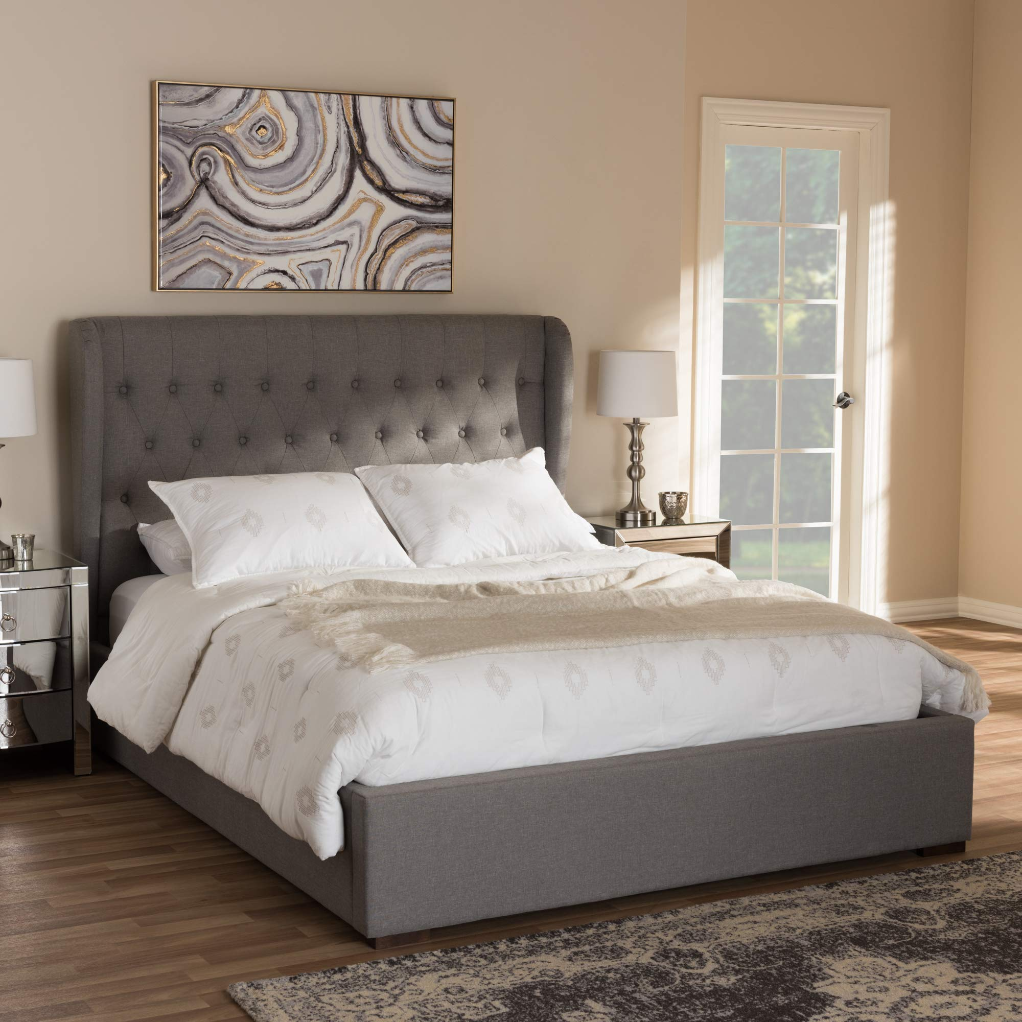 Baxton Studio Taylor Modern and Contemporary Light Grey Fabric Queen Size Gas-Lift Platform Bed Contemporary/Light Grey/Fabric Polyester 100%''/Rubber Wood/MDF/Particle Board/Foam/ by Baxton Studio