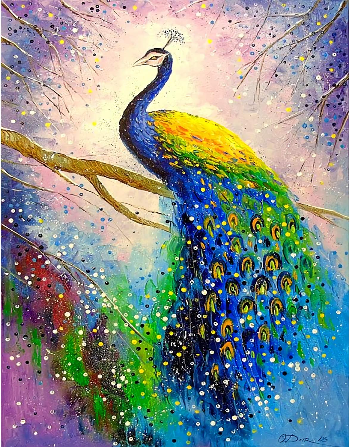 MWOOT DIY 5D Full Drill Diamond Embroidery Painting by Number Kit,Peacock Diamond Rhinestone Pasted Painting Cross Stitch Crafts for Home Wall Decor (30x40cm)