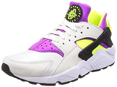 5da574208a8c5 Nike Men s Air Huarache Run  91 QS White Black Neon Yellow Running Shoe 4