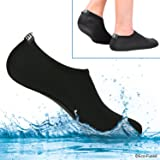 Eco-Fused Women's Water Socks with Elastic, Quick Dry, Breathable Fabric and Non-Slip Rubber Sole - Extra Comfort – Yoga, Beach, Pool