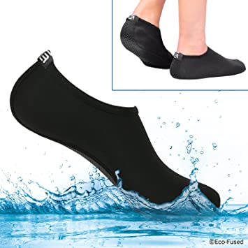 Water Socks / Shoes for Women - Black - 2 Pair - Extra Comfort - Protects Against Sand Water UV - Easy Fit Footwear for Swimming