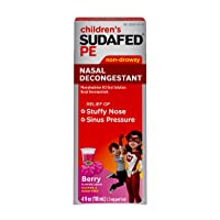 Children's Sudafed PE Nasal Decongestant, Liquid Cold Relief Medicine with Phenylephrine HCl, Alcohol Free and Sugar-Free, Berry-Flavored, 4 fl. oz