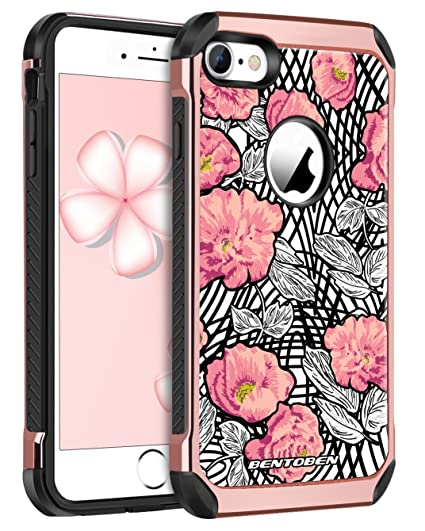 another chance a54cb 58eaa BENTOBEN Case for iPhone 7/ iPhone 8 Slim Shockproof Cute Flora Design  Rugged 2 in 1 Dual Layer with Faux Leather Hard Cover Soft Rubber Hybrid ...