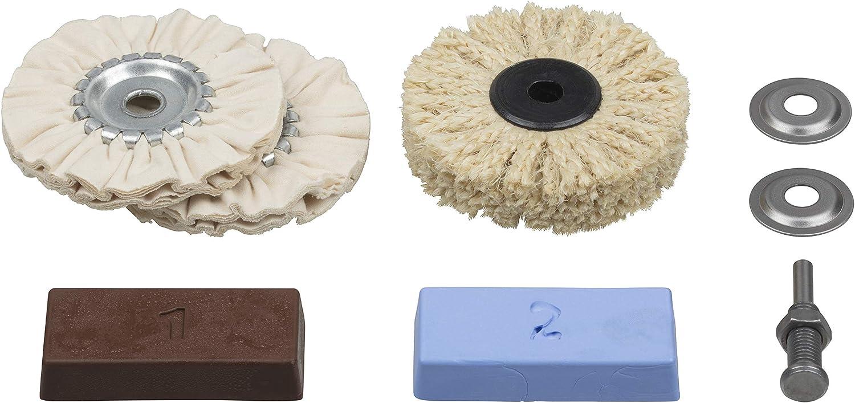 Wolfcraft 2179000 2179000-1 Juego Profesional Metales, plástico, marmol etc. Contenido: Pasta de Pulido, Mandril de sujeción, Cepillo de sisal, Disco de Algodon