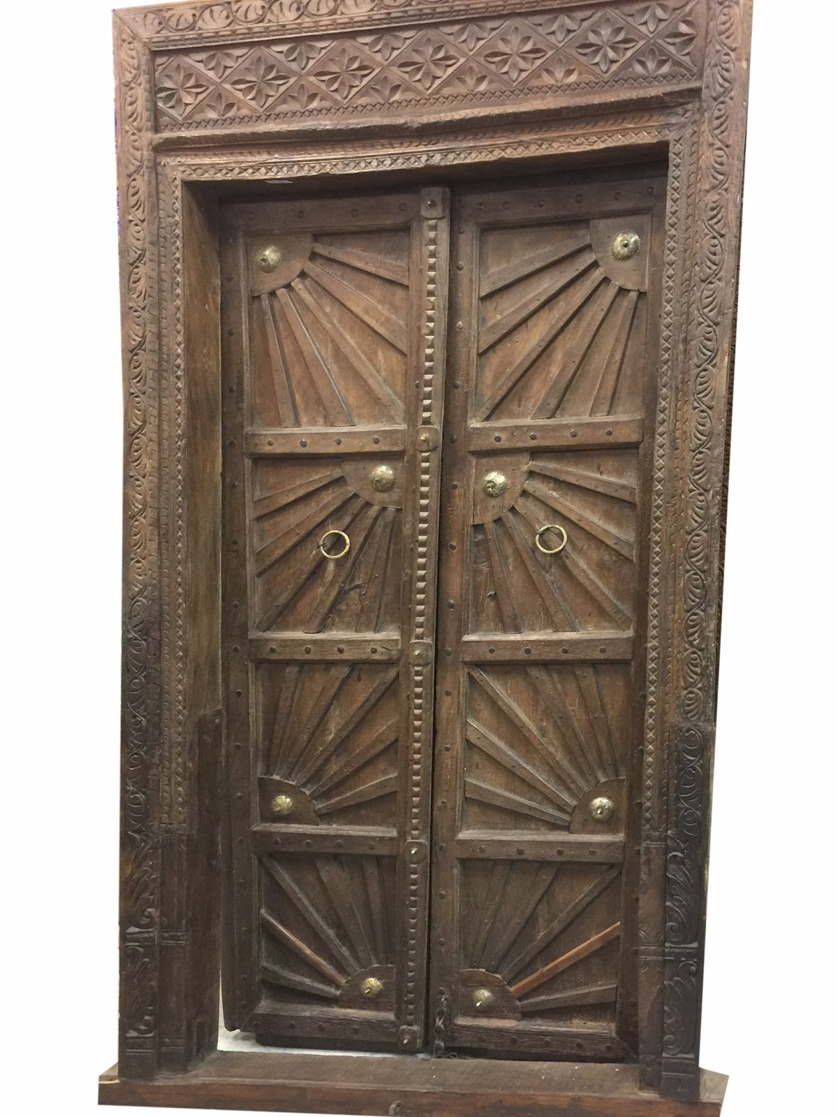 Farmhouse Sunshine Antique Indian Doors Hand Carved Haveli Teak Wood Double Door & Frame Industrial Spanish Decor by Mogul Interior