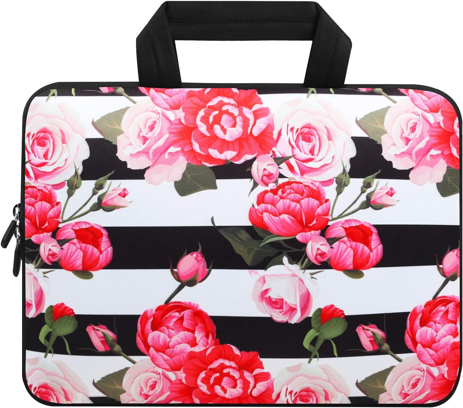 Violet Mist 11 11.6 12 12.1 Inch Laptop Sleeve Bag Carrying Case Neoprene Notebook Protective Bag Chromebook Tablet Cover with Handle for Office Men Women(Pink Peony,12