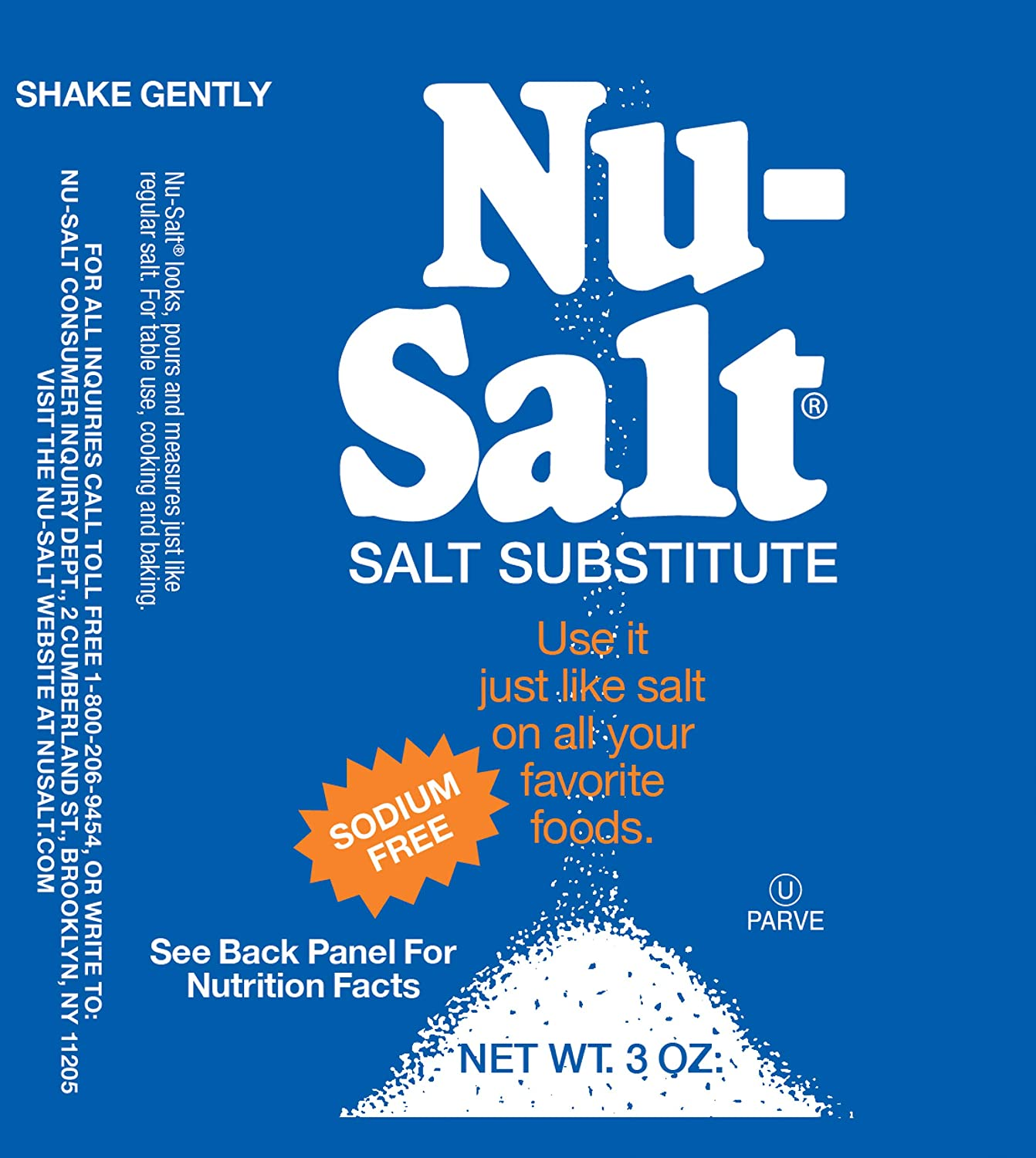 Nu Salt, 3-Ounce Shaker (12 Count) : Salt Substitutes : Grocery & Gourmet Food
