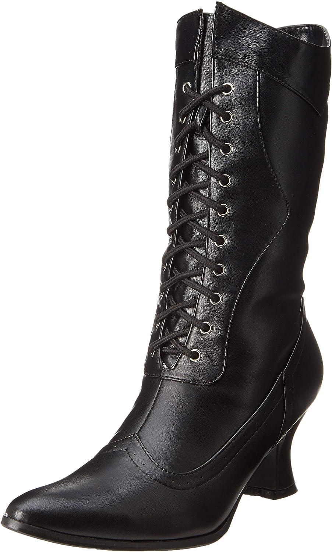 | Ellie Shoes Women's 253 Amelia Victorian Boot, Black Polyurethane | Mid-Calf