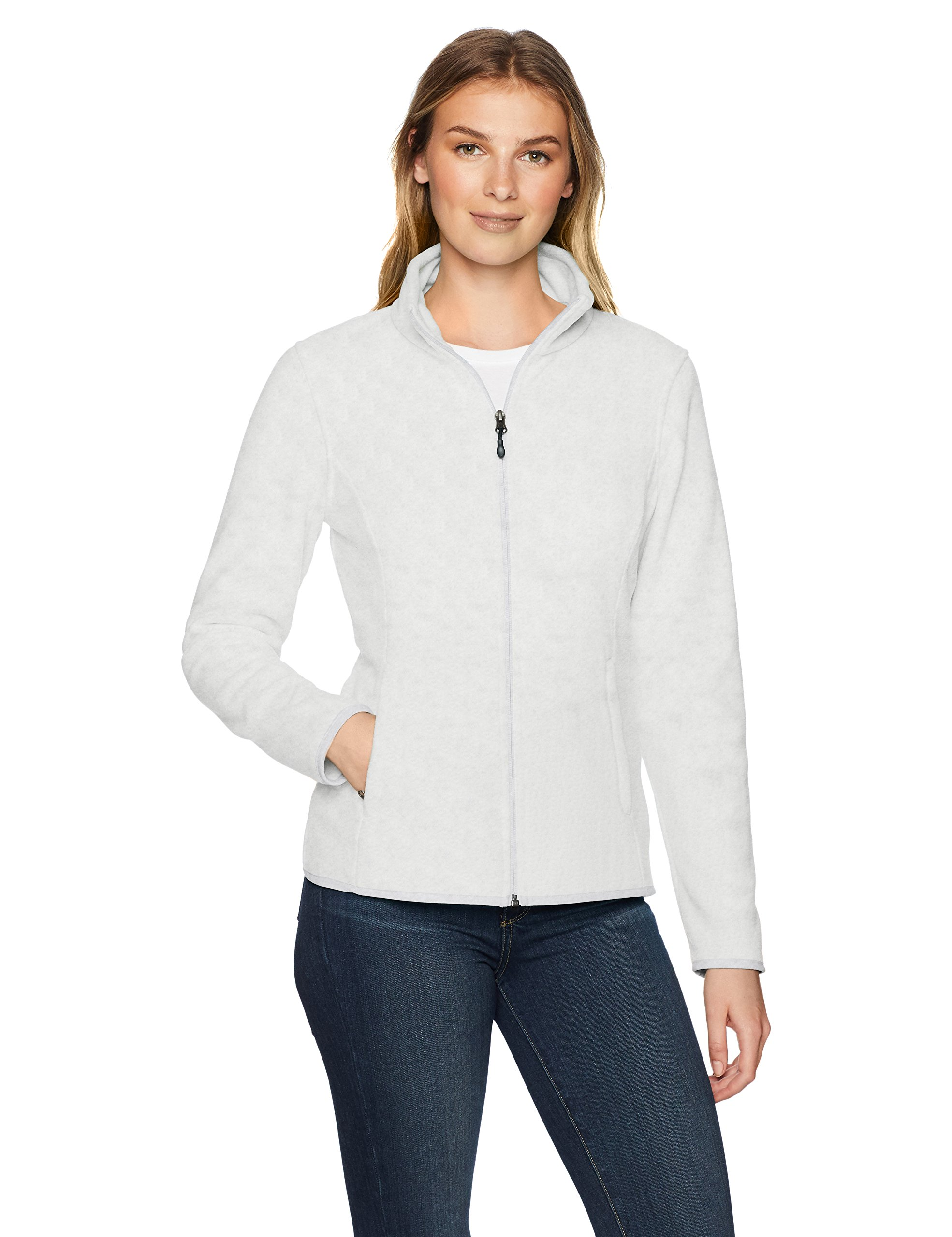 Amazon Essentials Women's Standard Full-Zip Polar Fleece Jacket, Light Grey Heather, Small