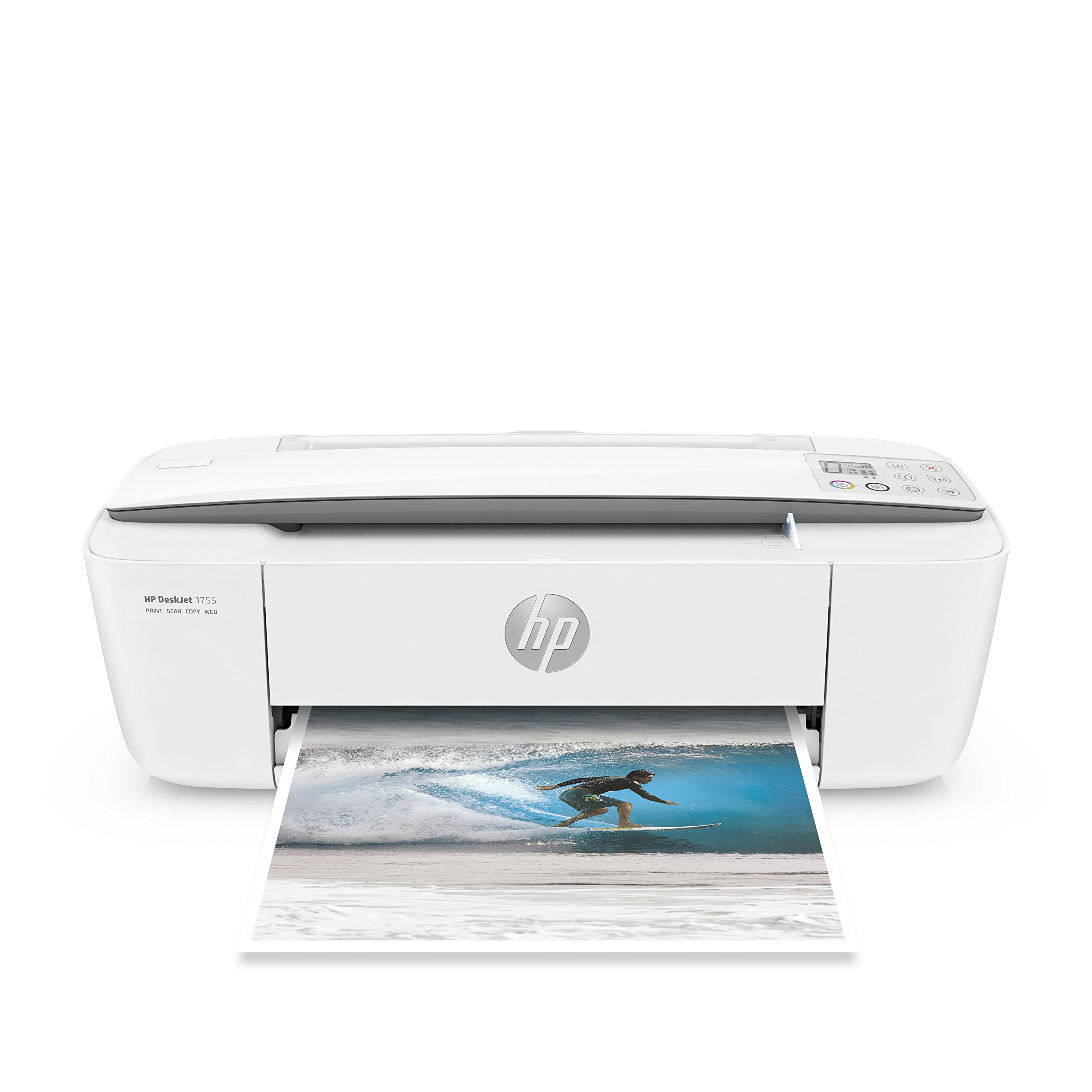 HP DeskJet 3755 Compact All-in-One Wireless Printer with Mobile Printing, HP Instant Ink & Amazon Dash Replenishment ready - Stone Accent (J9V91A)