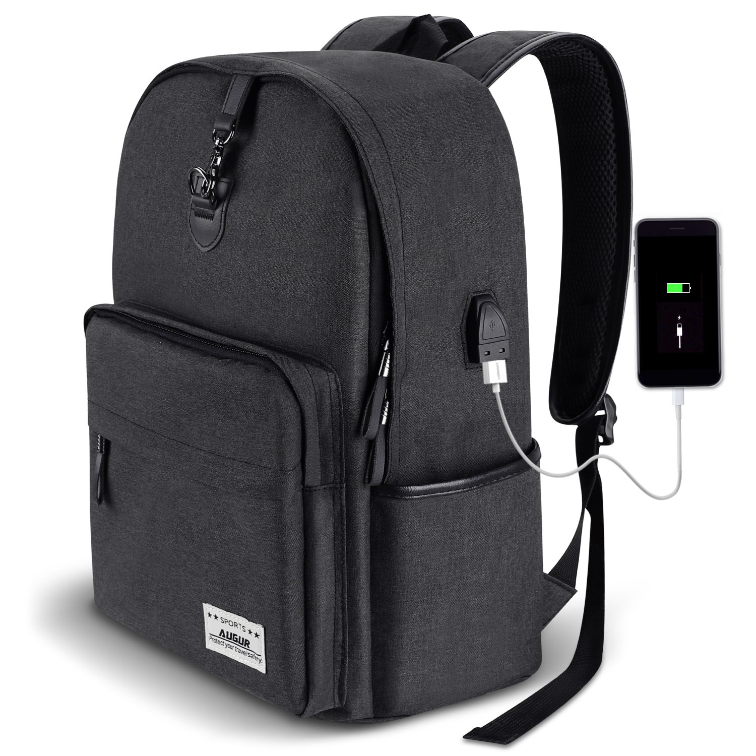 AUGUR Anti-theft Backpack Business Backpack School Bookbag with USB Charging Port,Water Resistant for Men & Women 35L