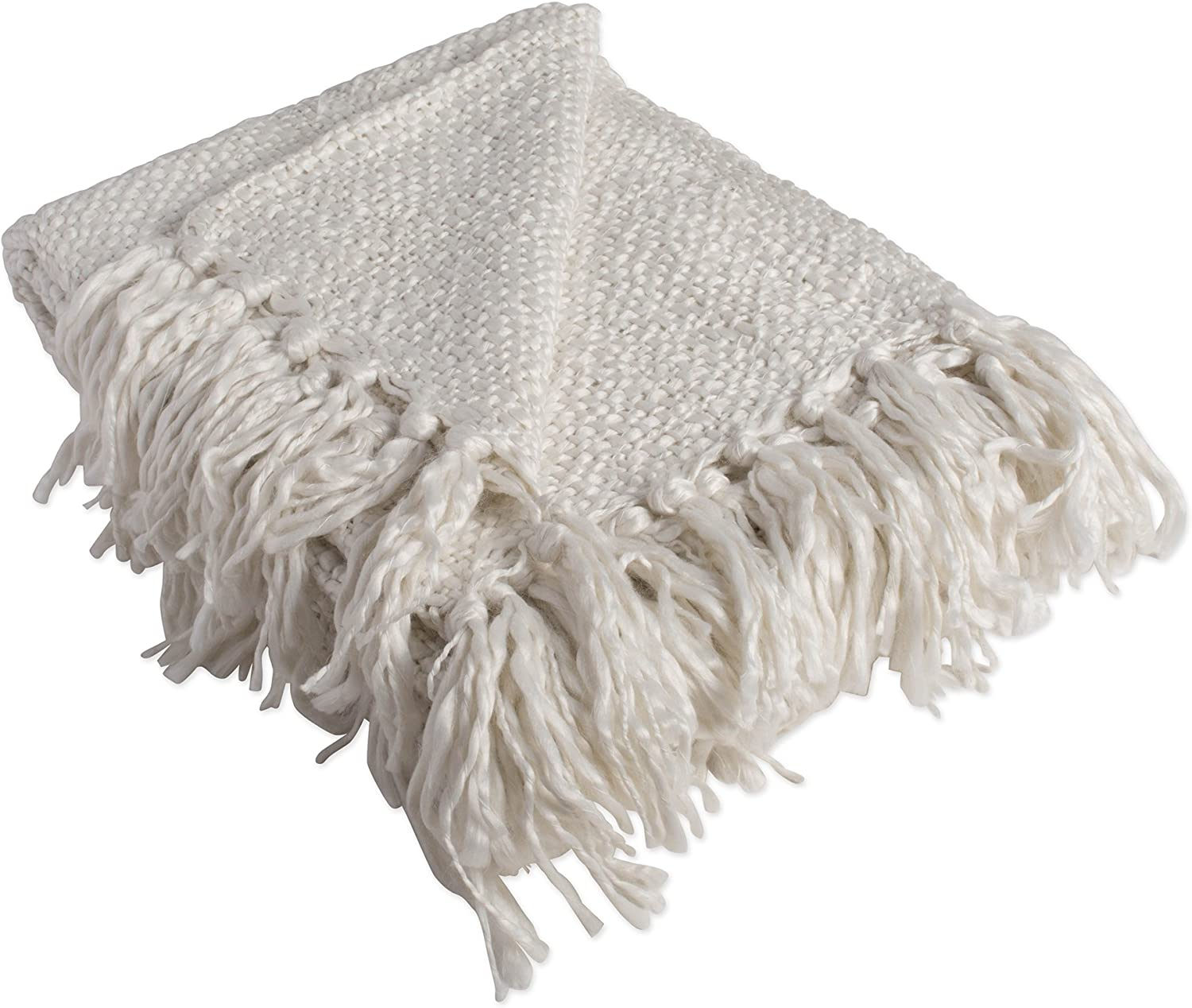 DII Luxury Woven Throw Blanket with Fringe, 50x60, Ivory