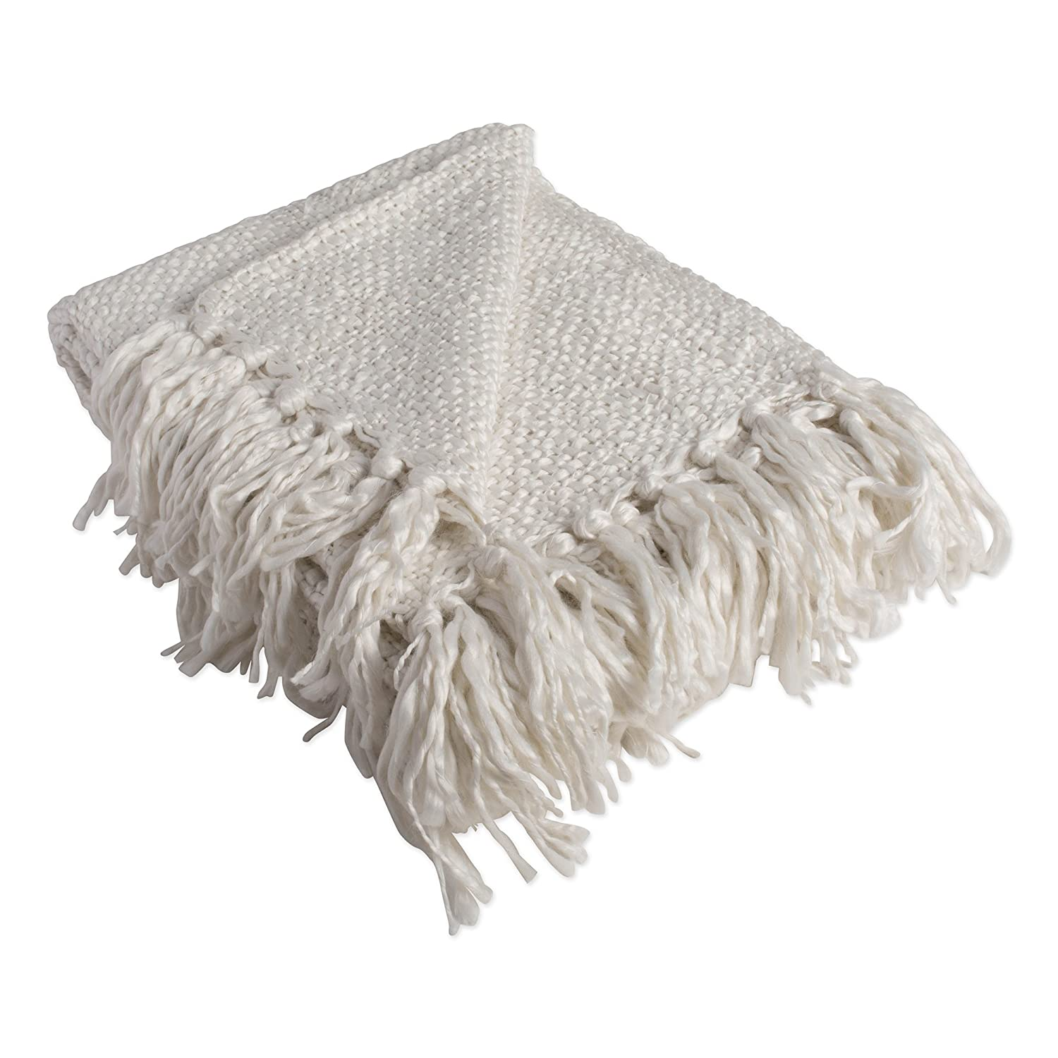"""Luxury Woven Throw Blanket with Fringe 50x60"""", Reversible Soft Warm Breathable for Bed, Chair, Couch, Picnic, Camping, Beach, Travel-Ivory"""