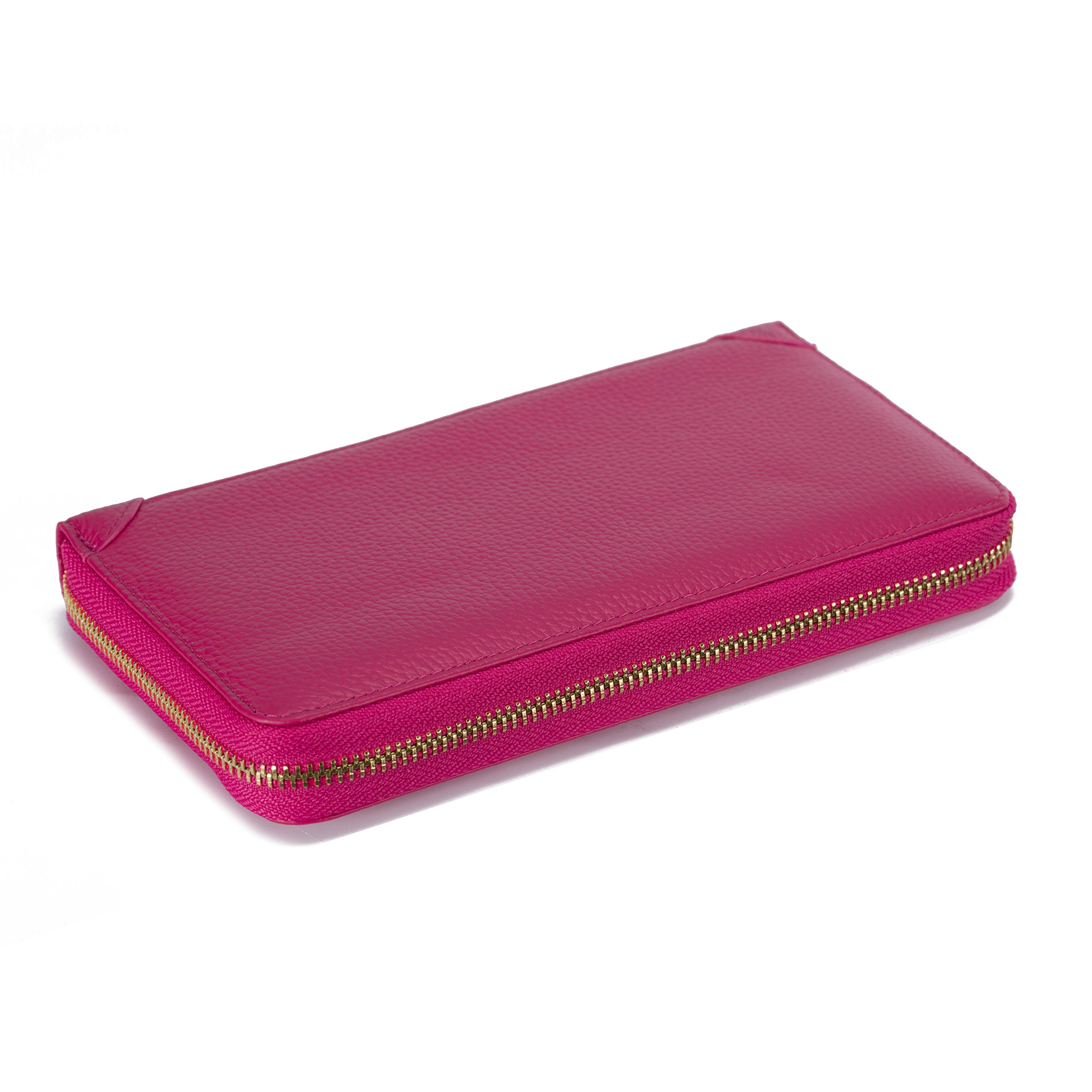 SafeCard Women's Credit Card Case Wallet 2 ID Window and Zipper Card Holder Purse (90 Card Rose red)