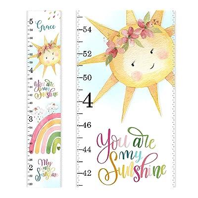 Rainbow Growth Chart, Personalized Growth Chart, You are my Sunshine, Nursery Decor, Watercolor Rainbow Cloud Sun Wall Art, Height Chart: Handmade