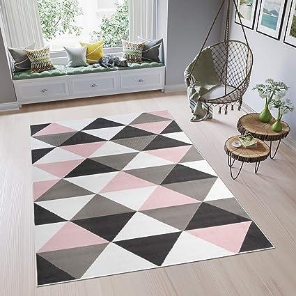 Tapiso Pimky Tapis de Salon Chambre Ado Design Moderne Rose Gris Blanc Noir  Géométrique Triangles Doux Fin 140 x 200 cm