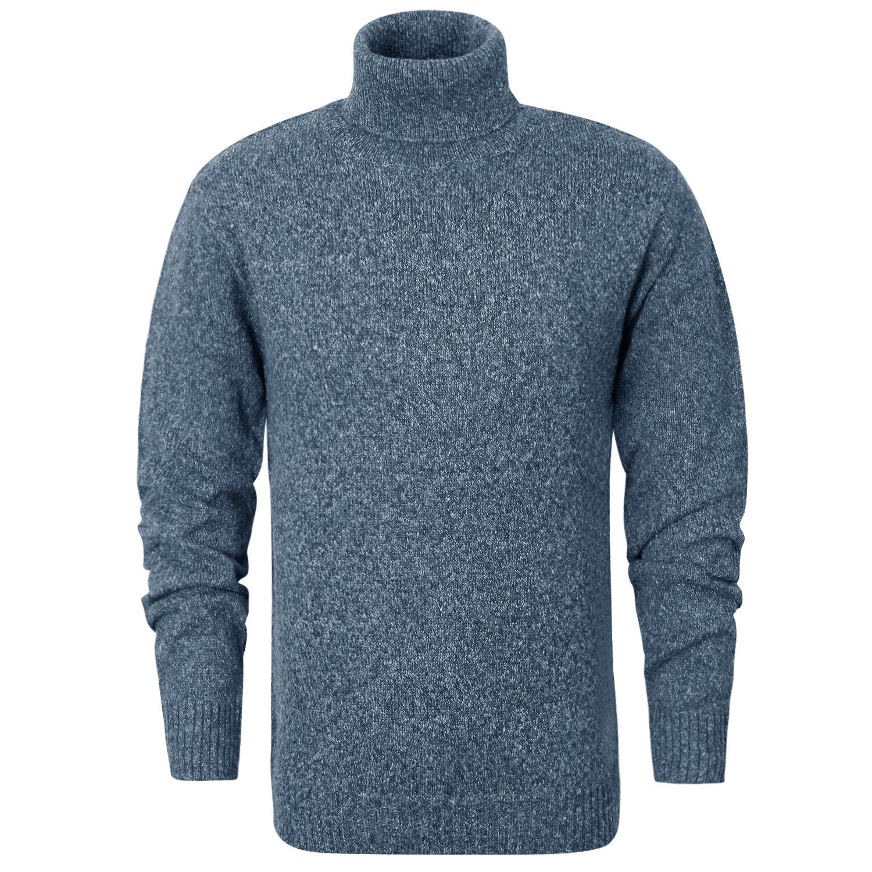 ililily Men Heathered Mockneck Knit Sweater Turtleneck Pullover Casual Jumper