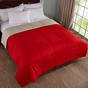 Home Elements Lightweight Reversible Down Alternative Quilted Comforter, Hypoallergenic, Peach Skin Fabric, Box Stitched, Full/Queen Size, Red