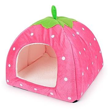 FUYA - Caseta de conejo para cachorro, gato, cobaya, cachorro, casa para perro, de fresa, plegable, suave y de alta calidad: Amazon.es: Productos para ...
