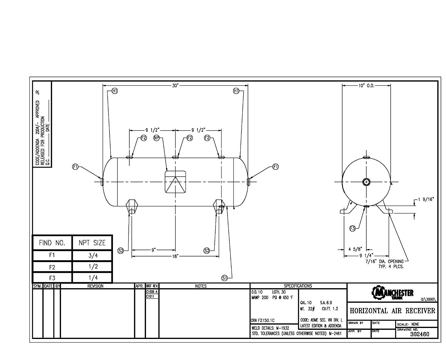 Manchester Tank 302460 Horizontal Air Receiver 10 Gallons 200 Schematic Psi Legs Only Compressor Accessories Industrial Scientific