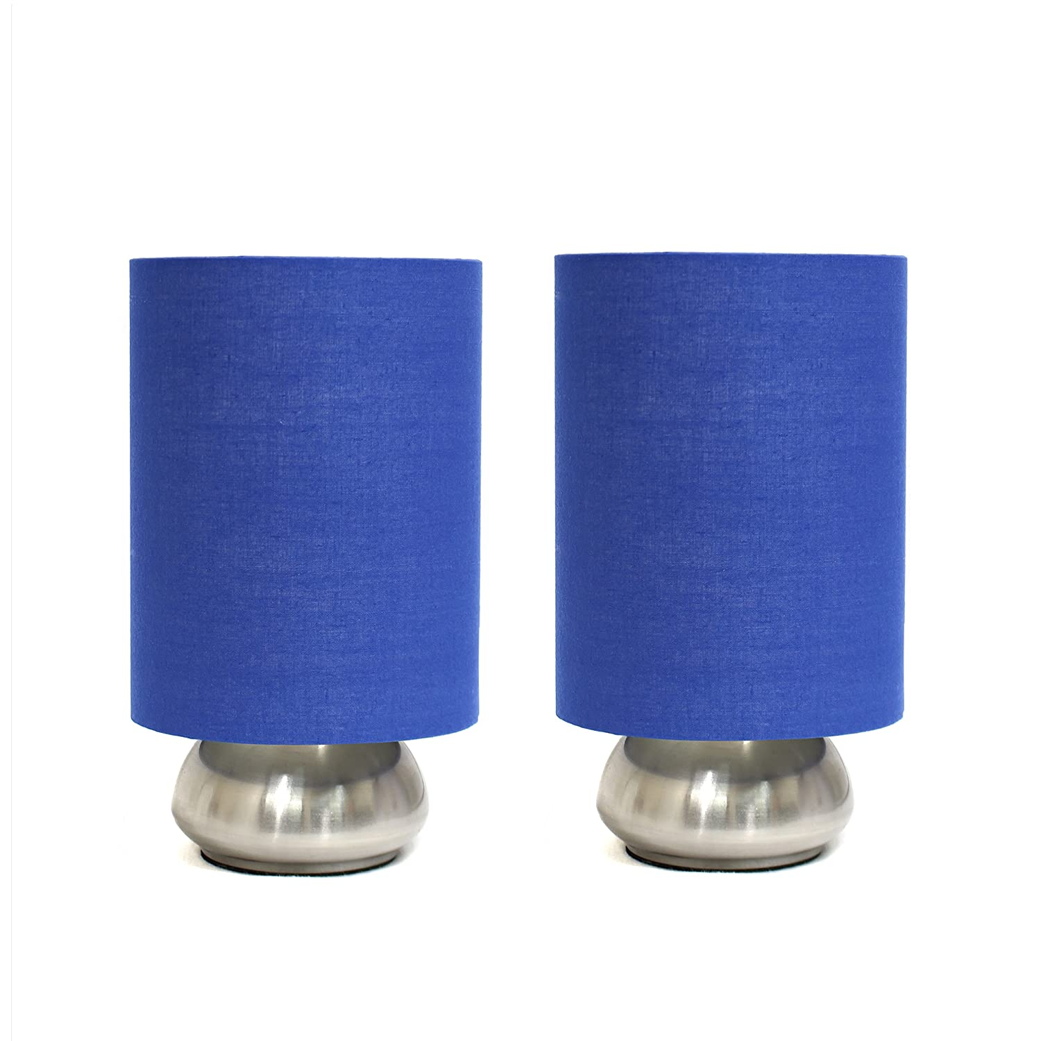 Simple Designs LT2016-BLU-2PK Gemini Brushed Nickel 2 Pack Mini Touch Lamp Set with Fabric Shades, Blue by LighTunes [並行輸入品] B00FPJ5UHE  Blue Shade