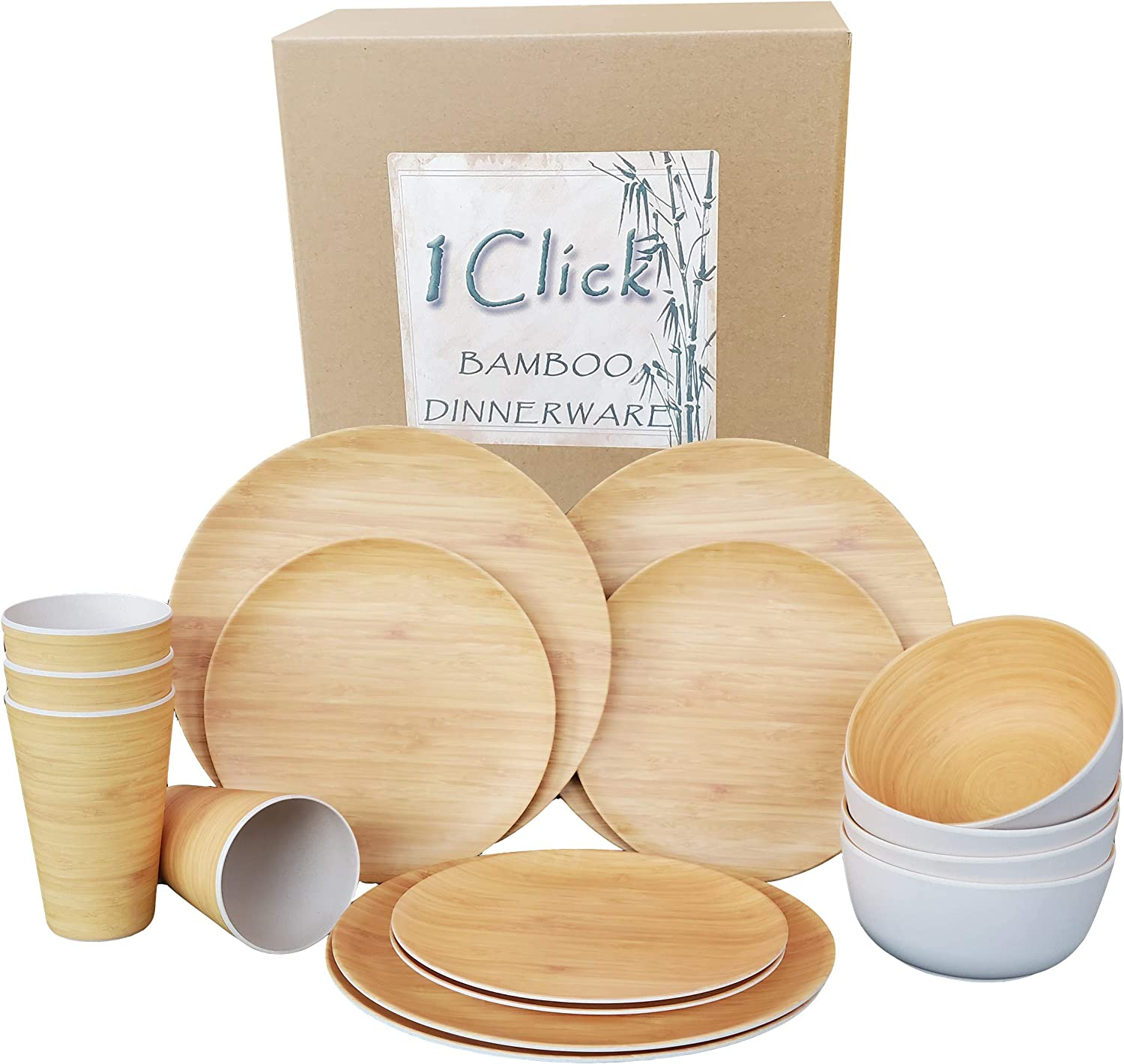 1 Click Bamboo Fiber Reusable Dinnerware Set, 16 Pieces for 4 guests, Reusable, Dishwasher Safe, For Events, Parties and Home Use