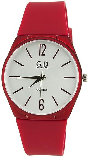 GIORGIO ET DARIO -reloj mujer Plata Cuarzo caja Pvc pantalla analógica Pulsera SiliconaRojo: Amazon.es: Relojes