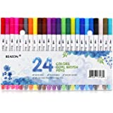 Reaeon Dual Tip Brush Pens Fine Point Markers, 24 Fineliner Pens Colored Writing Drawing Marker Pen Set for Bullet Journal Planner Calendar Coloring Office School Supplies Art Projects