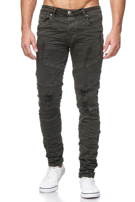 Megastyl Biker-Jeans-Hose Herren Stretch-Denim Slim-Fit Stepp-Design B0788XGGNX Jeanshosen Haltbarer Service