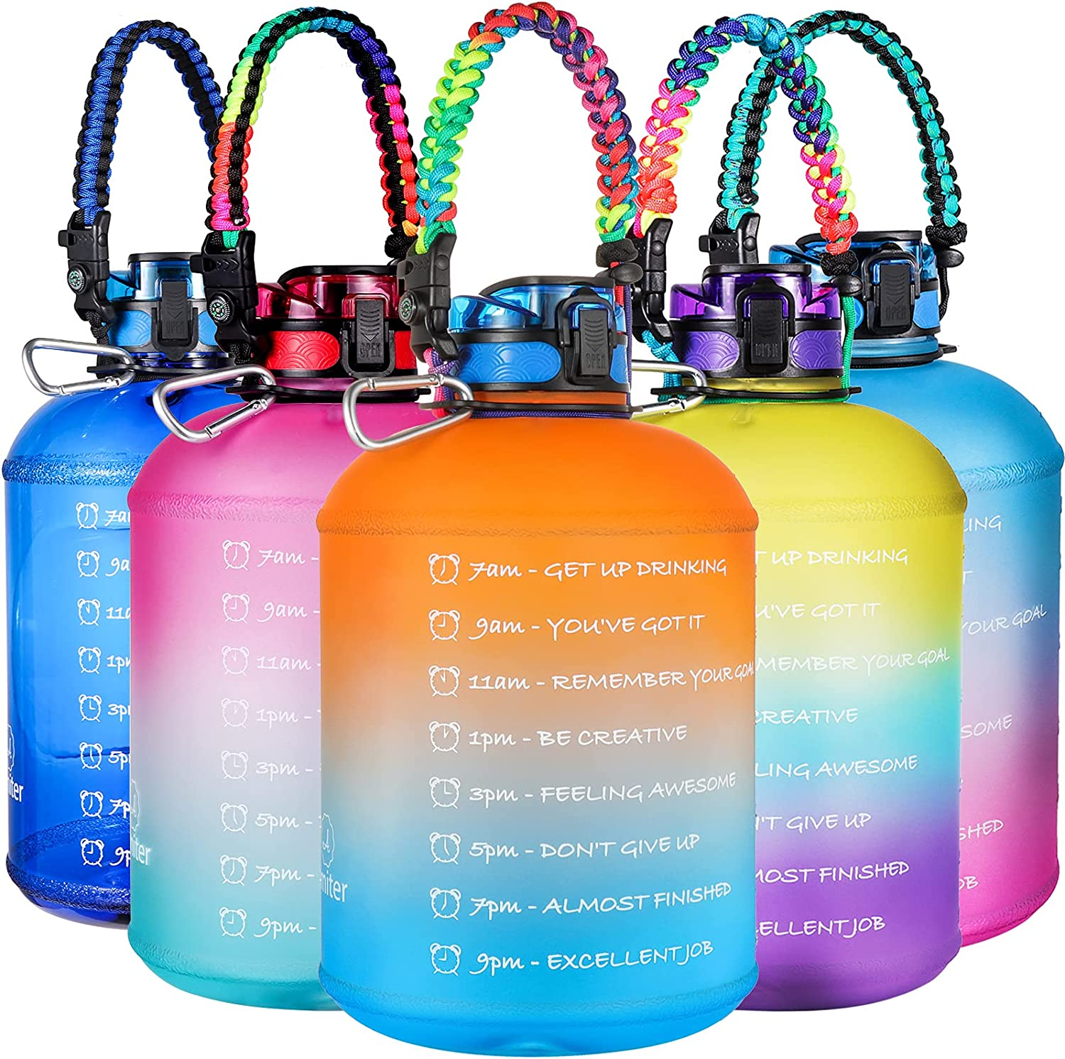 AMITER Large 1 Gallon Motivational Water Bottle with Handle, Straw, Time Marker, One Key Open Lid, BPA Free Leakproof Sports Water Jug for Gym, Office, Home, Outdoor