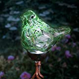 Exhart Solar Green Hand-Blown Glass Bird Yard