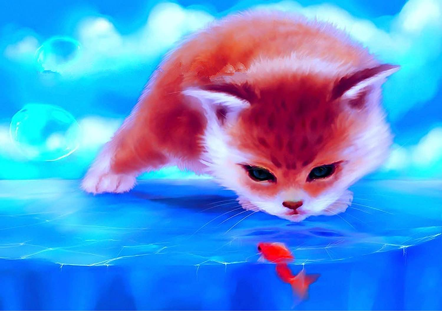 TianMai Hot New DIY 5D Diamond Painting Kit Crystals Diamond Embroidery Rhinestone Painting Pasted Paint by Number Kits Stitch Craft Kit Home Decor Wall Sticker - Red Cat Goldfish, 33x25cm