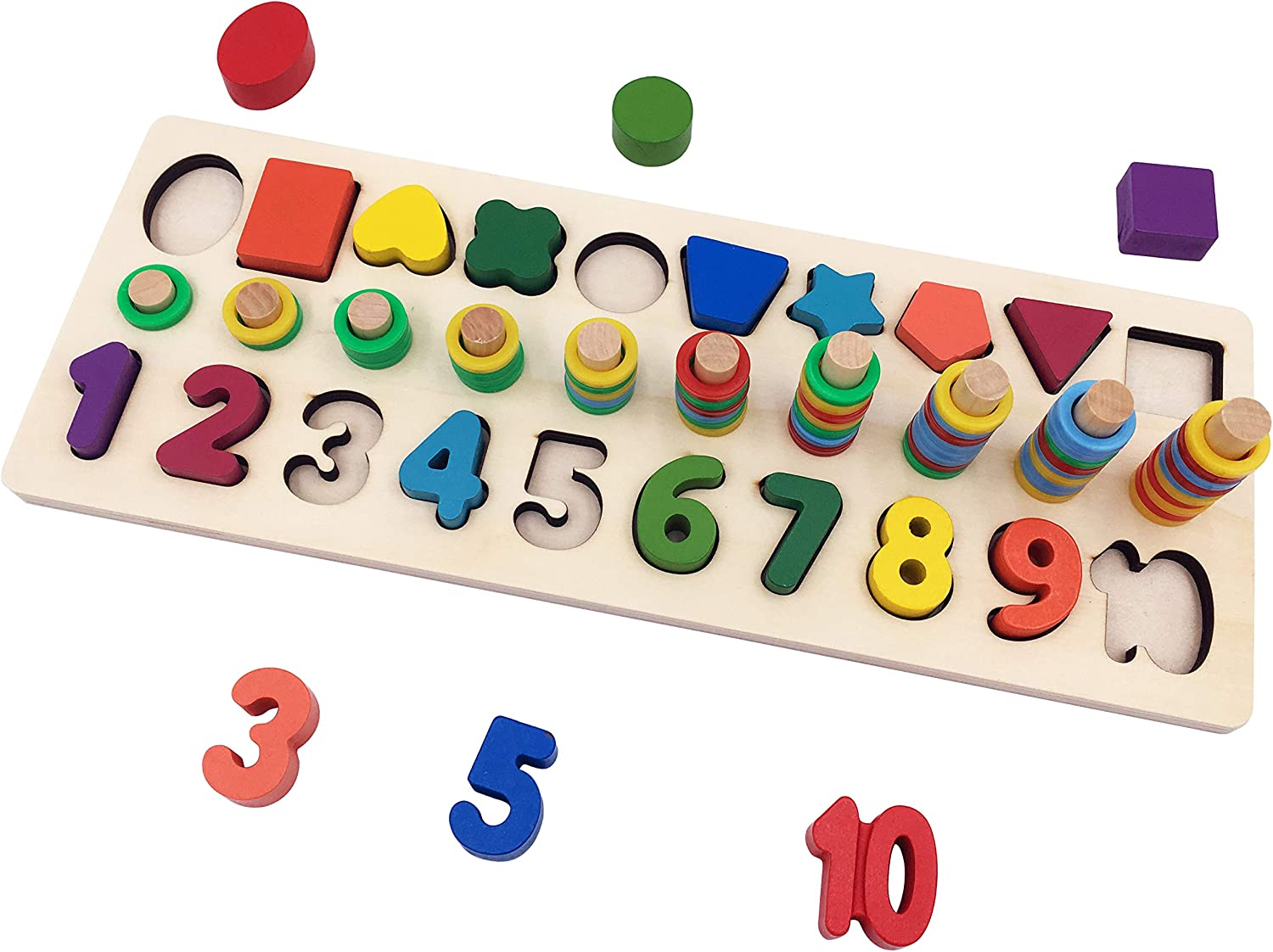 Numbers /& Shapes Look /& Learn Wooden Board /& Pieces By Meadow Kids