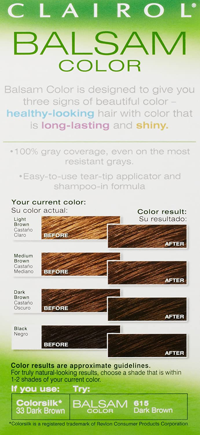 Amazon.com : Clairol Balsam Hair Color 615 Dark Brown 1 Kit (Pack of 3) : Chemical Hair Dyes : Beauty
