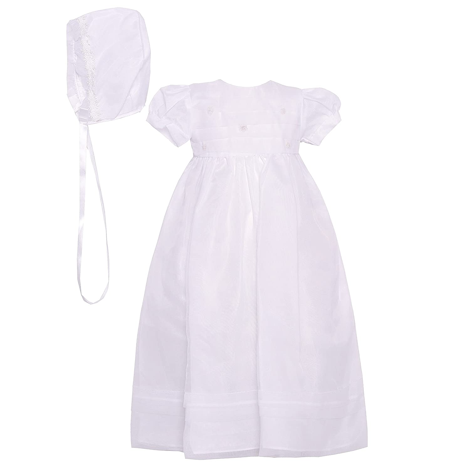 The Childrens Hour Baby Girls White Fully Lined Sheer Organza Gown 3m 24m