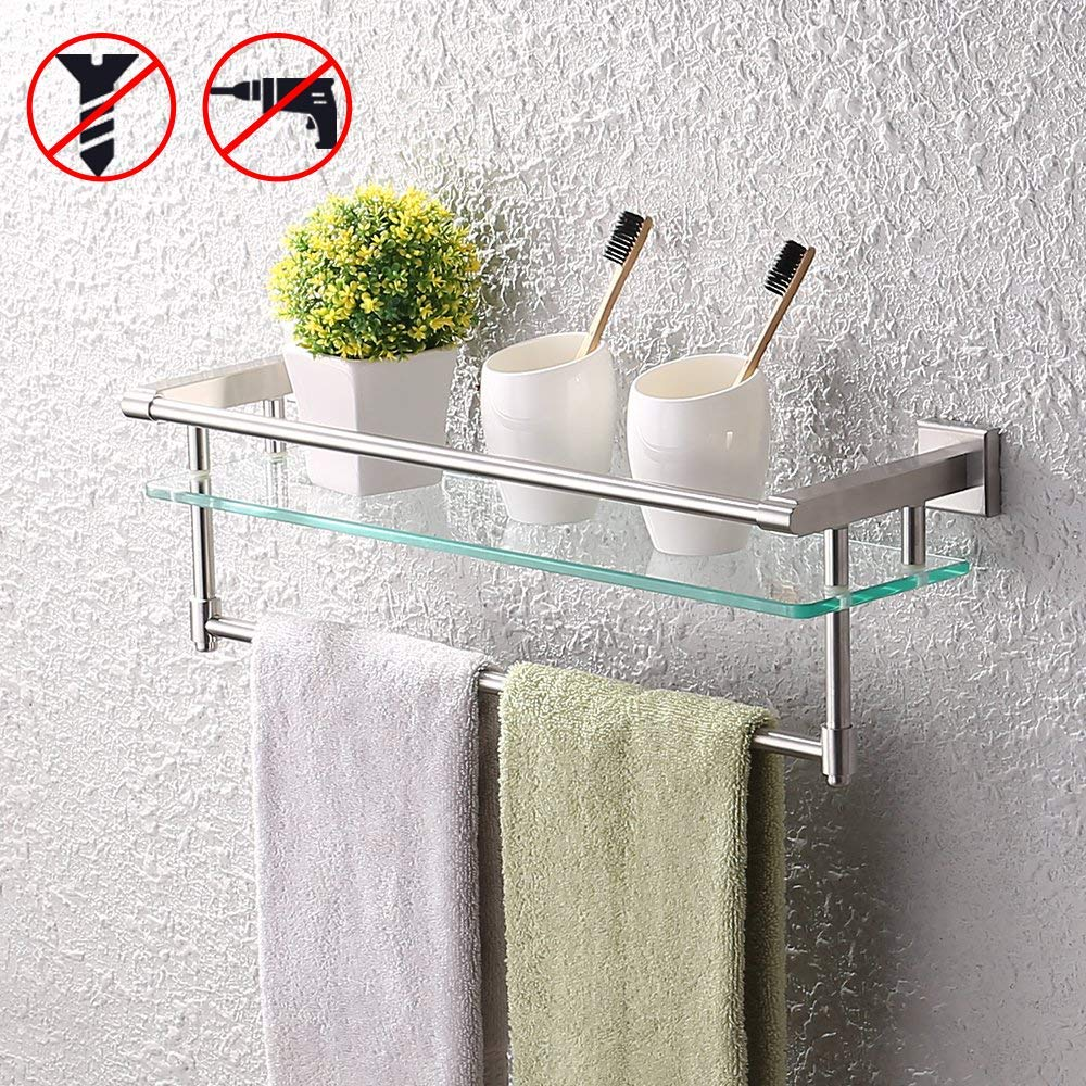 KES SUS304 Stainless Steel Bathroom Glass Shelf with Towel Bar and Rail Brushed Finish Heavy-Duty Rustproof Wall Mount NO Drilling, A2225DG-2 by KES
