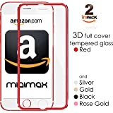 """iPhone 7 6, 6s 3D Screen Protector Glass with Titanum Edge Red Full Cover [2-Pack] 4.7"""" by miaim"""