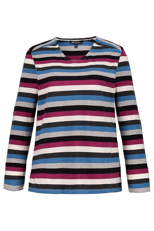 e3097ef2 Ulla Popken Women's Plus Size Slub Jersey Striped Tee 719305 at Amazon  Women's Clothing store: