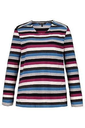 72cb1afb Ulla Popken Women's Plus Size Slub Jersey Striped Tee Berry Stripe 20/22  719305 59