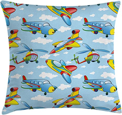 Amazon Com Ambesonne Plane Throw Pillow Cushion Cover Cartoon Planes And Helicopters In The Air Between Clouds Nursery Toy Artwork Decorative Square Accent Pillow Case 40 X 40 Yellow And Blue Home