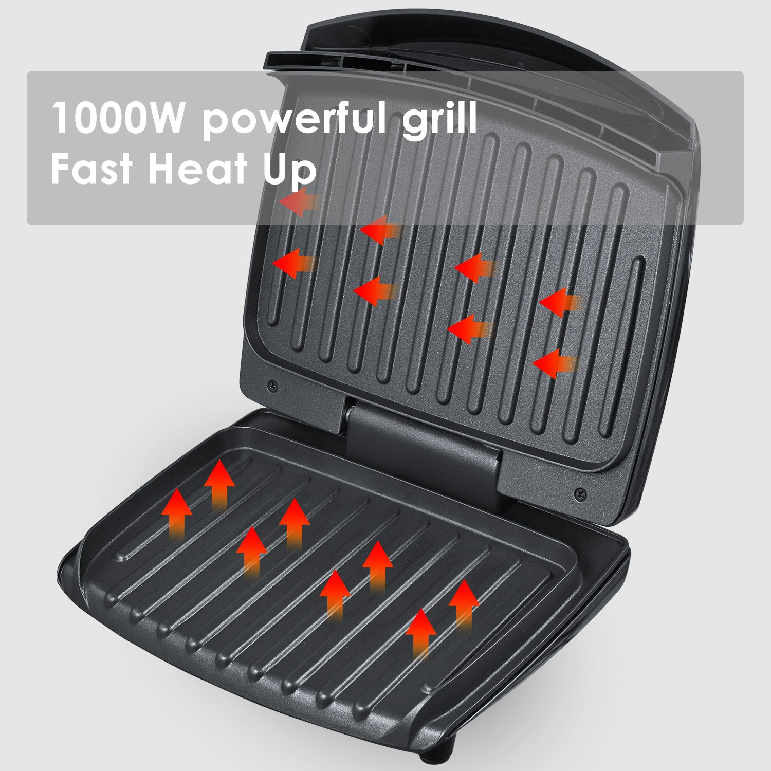 Aicok Panini Press 1000W Fast Cooking Non-Stick Sandwich Maker, 2-Serving Compact Indoor Grill with Drip Tray, Black by AICOK (Image #4)