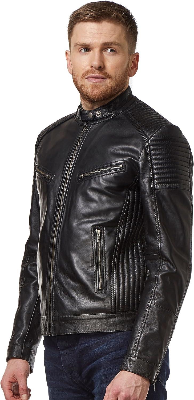 Smart Range Mens Leather Jacket Black Retro Biker Soft Lambskin Motorcycle Style 1829
