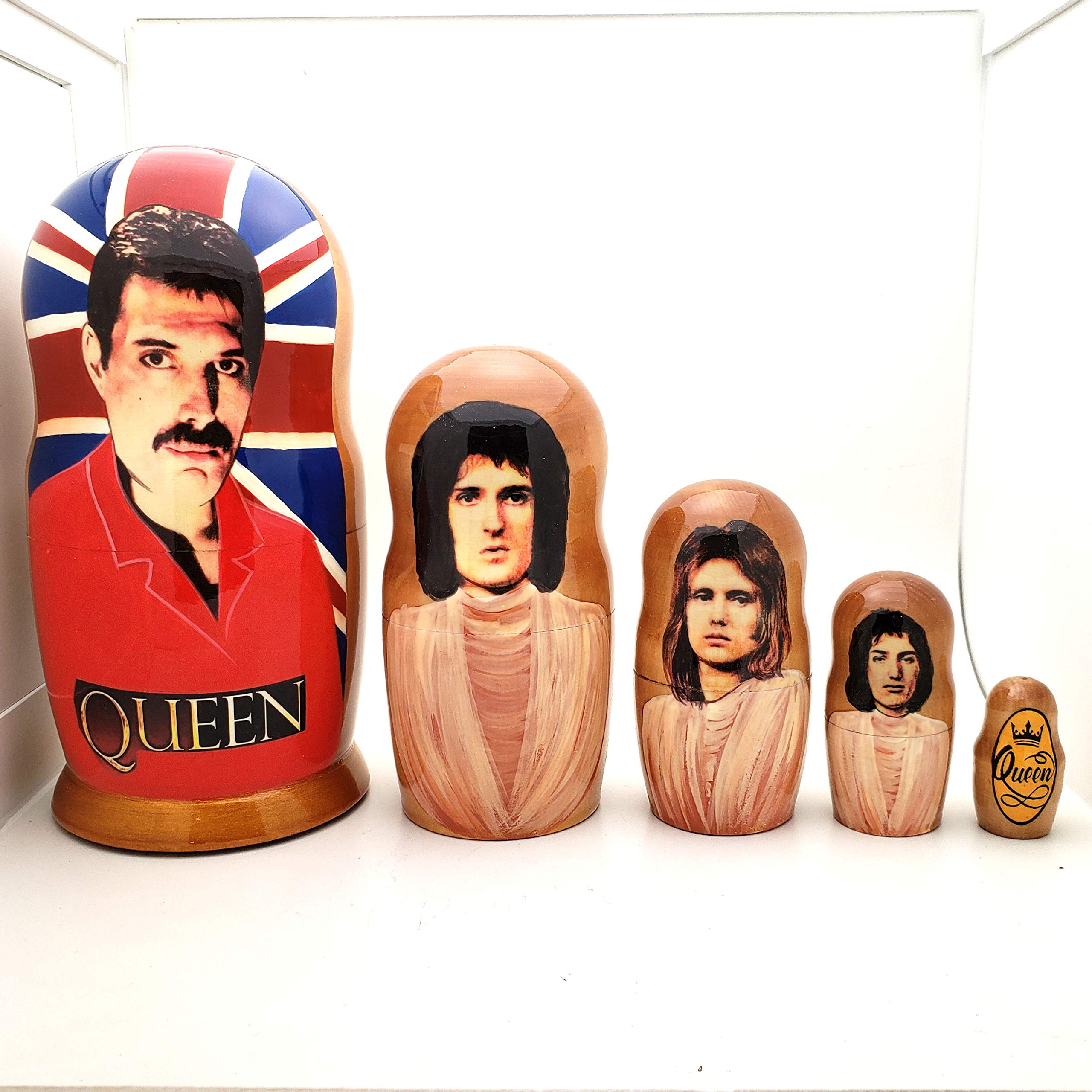 Queen Band Russian Nesting Dolls 5 Piece Doll Set 7'' Tall / Freddie Mercury, Brian May, Roger Taylor, John Deacon by BuyRussianGifts (Image #2)