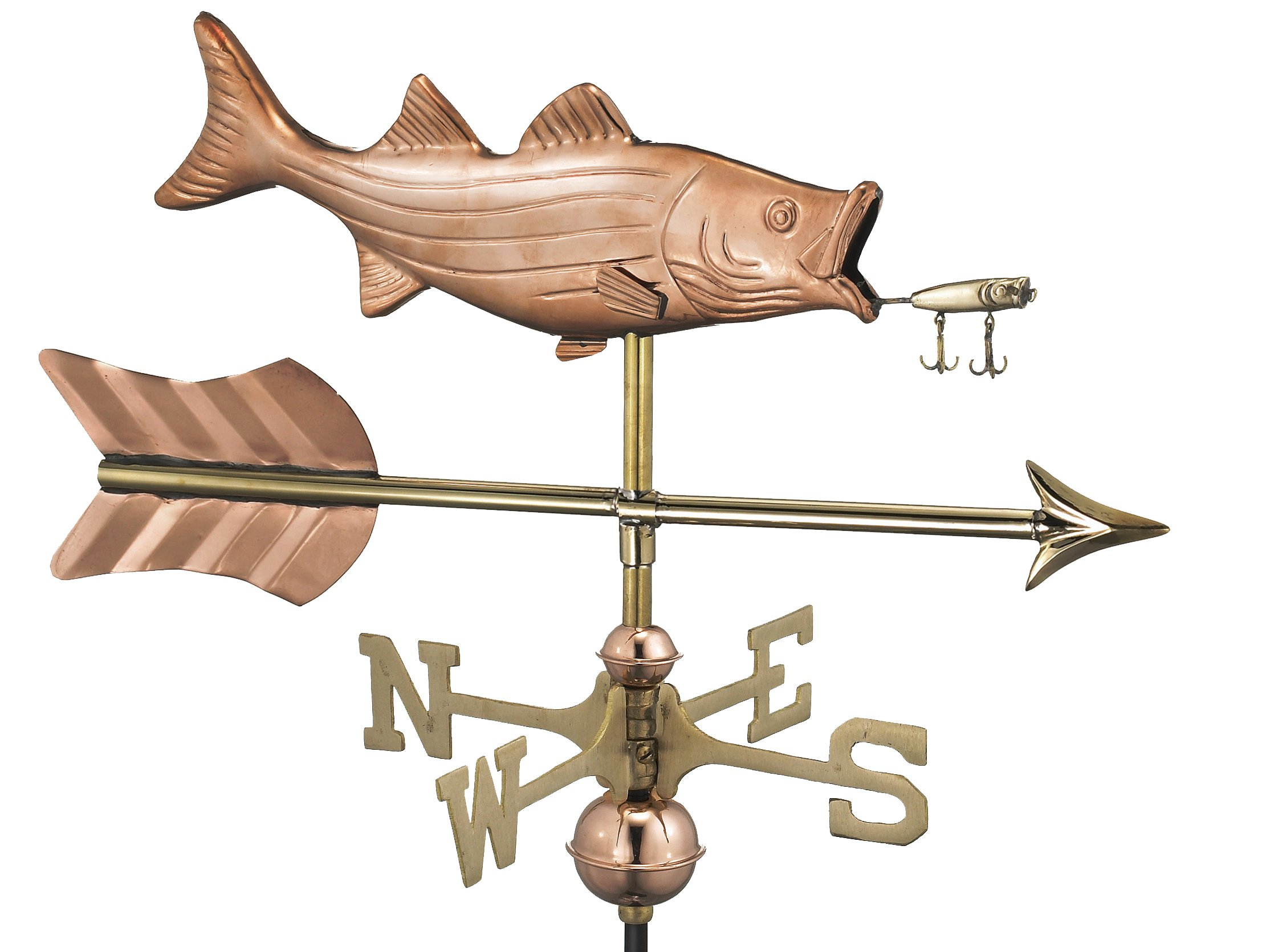 Good Directions Bass with Lure and Arrow Weathervane, Includes Roof Mount, Pure Copper, Fish