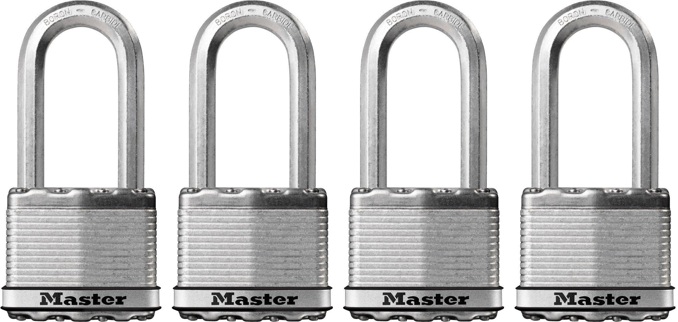 Master Lock Padlock, Magnum Laminated Steel Lock, 2 in. Wide, M5XQLH (Pack of 4-Keyed Alike)
